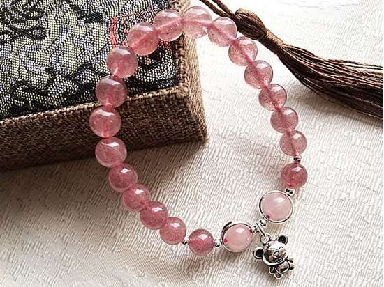 Picture of Natural Strawberry Quartz Crystal 925 Silver Chinese Zodiac Rat Charm Bracelet for Love and Enhance Intuition