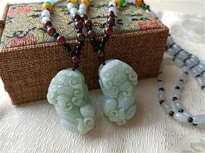 Picture of A pair Natural Carved Pi Xiu Pi Yao Pendant Jade Beads Necklace Couple Jewelry