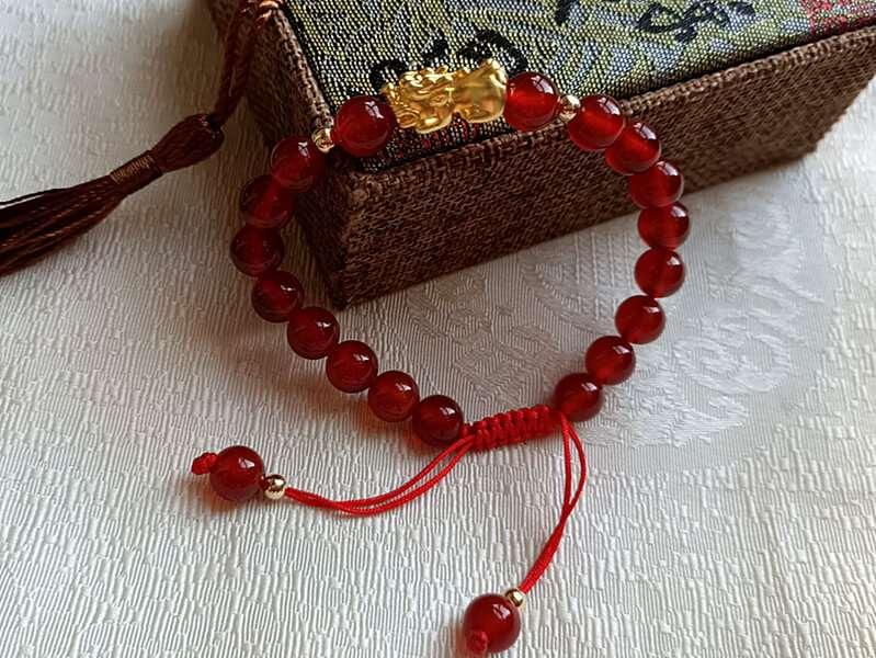 Red Agate Gold Plated Pi Xiu [+$2.00]