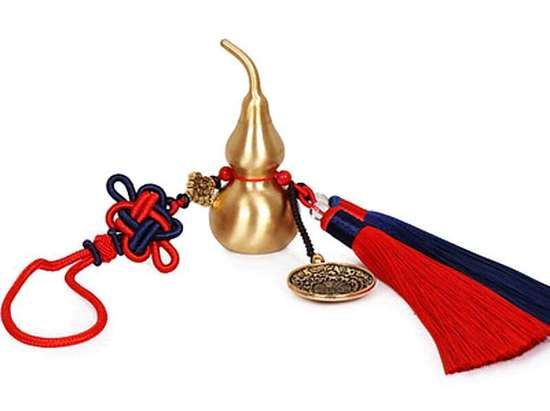 Picture of Brass Copper Gourd Pendant with Chinese Knots Car Feng Shui Hanging Ornamant