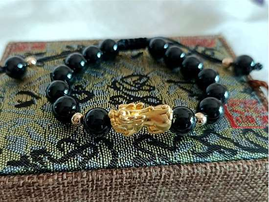 Picture of Black Agate 3D 999 Silver Pi Xiu Pi Yao Charm Bracelet to Bring Luck and Wealth